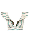 Ave Paraiso Top Aqua Stripes Kahki front by Juan de Dios Swimwear