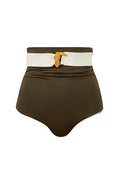 Gala Dali Bottom Aqua Stripes Khaki front reverse by Juan de Dios Swimwear