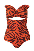 Victoria One Piece / Orange Zebra - Delicate