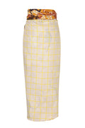 Capurgana wrap-around Linen Skirt / Beige Squares - Mustard Monkeys