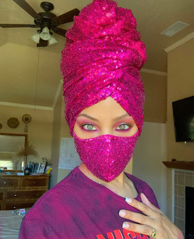 Hot Pink Sequin Head-Wrap and Face Mask