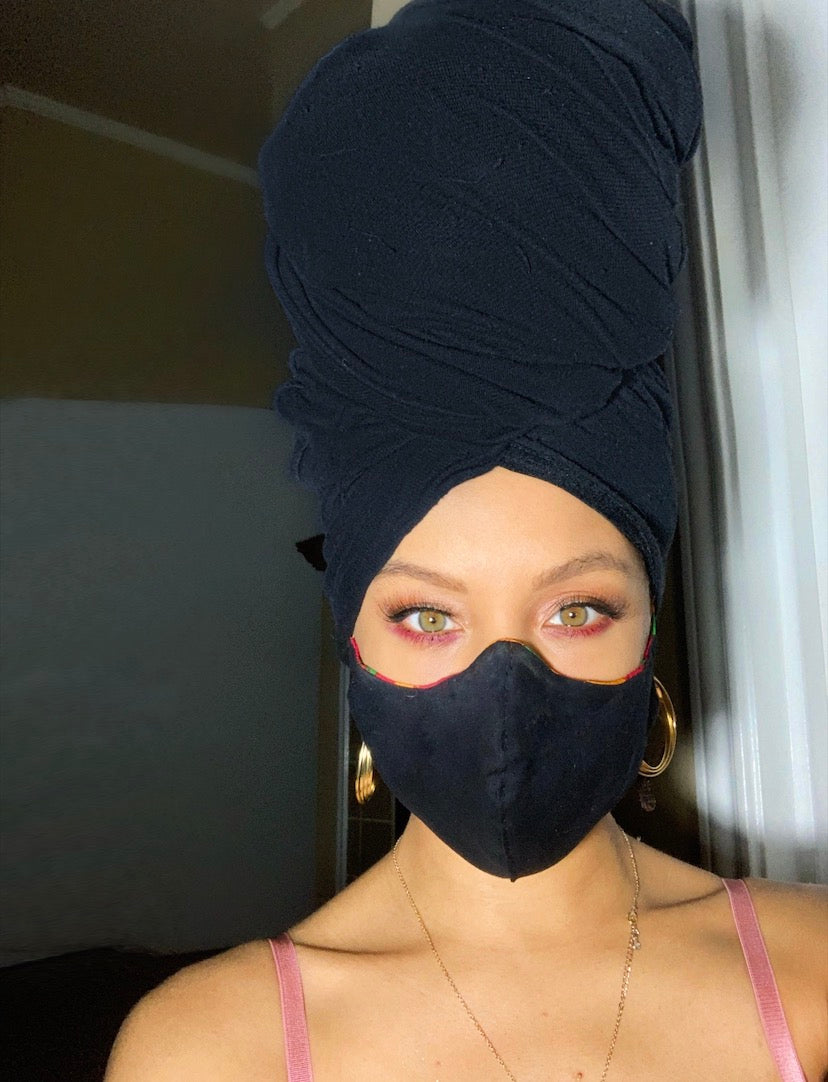 Pre-order *Solid color Head-wrap with Face Mask