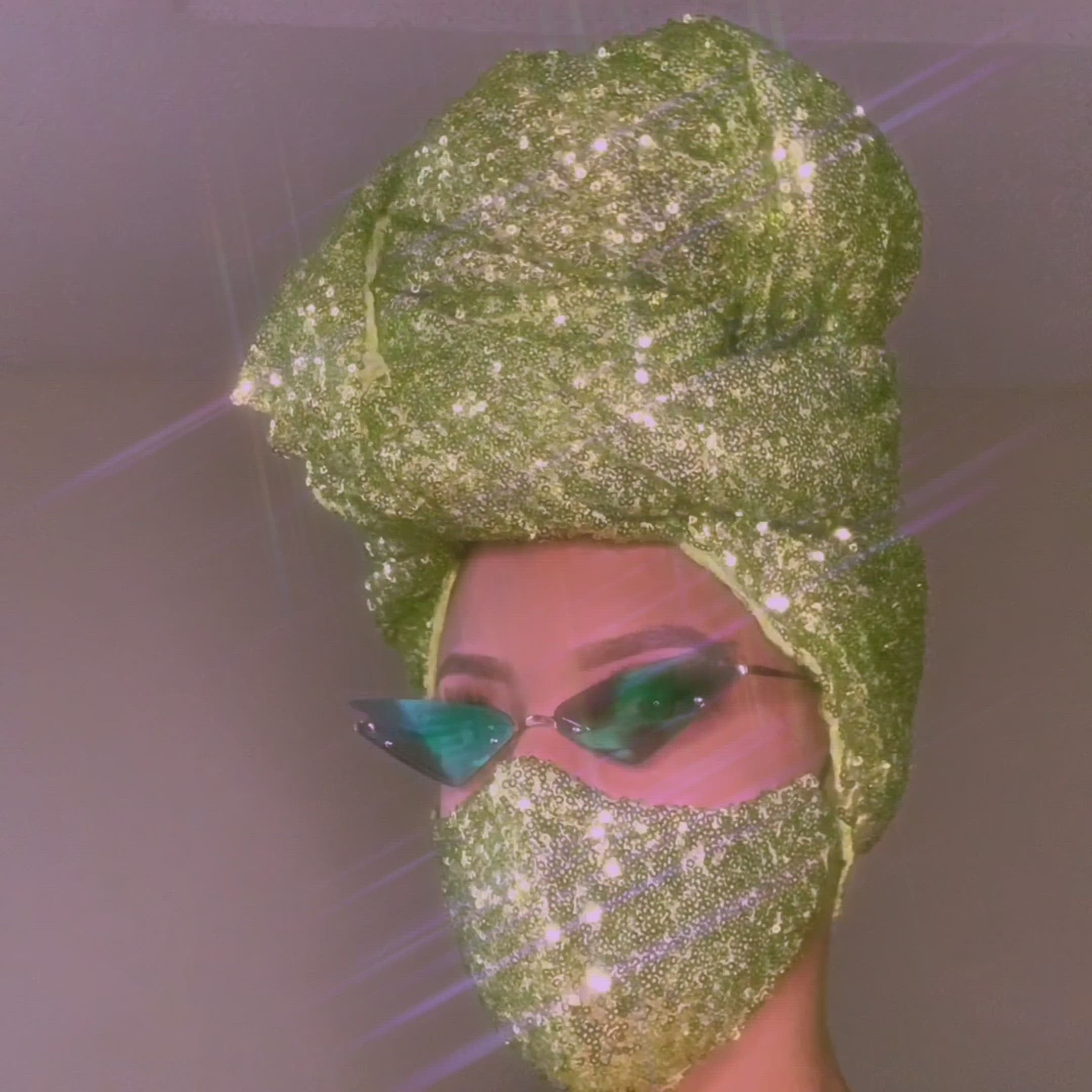 Green Goddess Sequin Head-Wrap and Face Mask