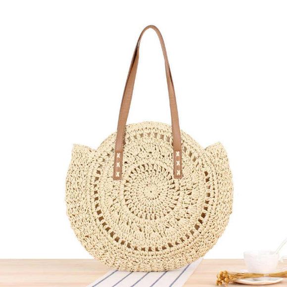Handmade Round Women Straw/Rattan Shoulder Bag - (Beige)