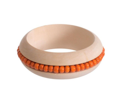 Handmade Ethnic Beads Wooden Bangle - Orange
