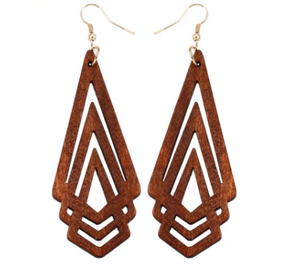 Natural Wooden Earrings - Geometrical Shape
