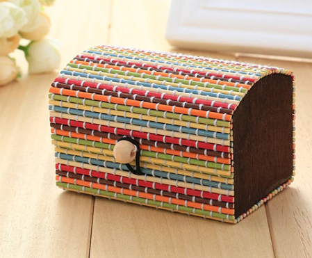 Vintage Bamboo Gift Box - Multicolour