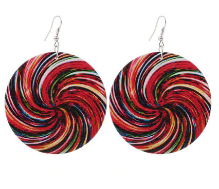 Wood Earrings - African Style Ethnic Round­ Dangle Earrings