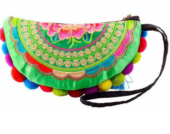 Handmade Vintage Women Coin Bag - Ethnic Floral Pompom Clutch