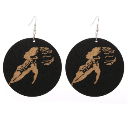 Black Wooden Earrings - African Style