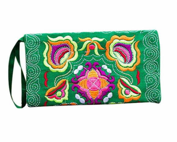 Women Ethnic Handmade Embroidered Clutch Bags/Vintage Purse - Green