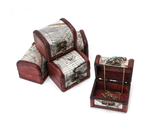 Wooden Pirate Map Jewellery Storage Box