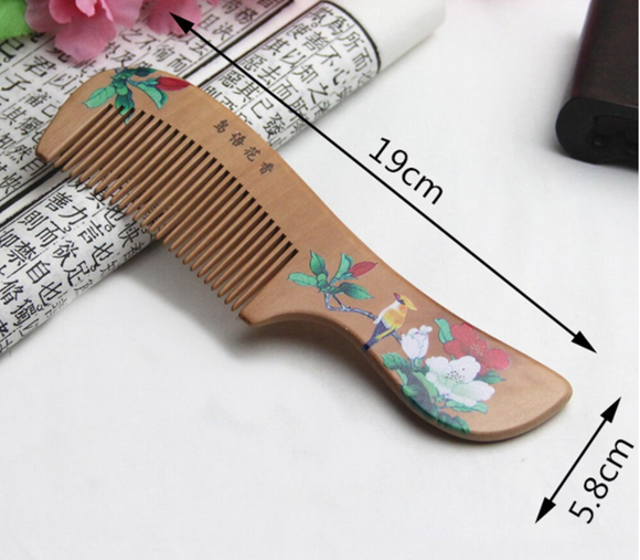 Peach Wood Comb - Flower Painted Healthy Scalp Head Massage Anti-Static Comb
