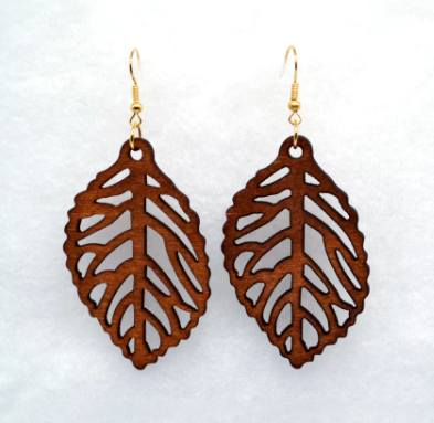 Wooden Brown Leaf Earrings