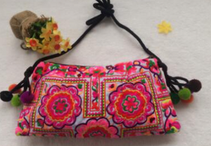Cotton Cloth embroidered women handbag / shoulder bag - 1