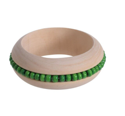 Handmade Ethnic Beads Wooden Bangle - Green