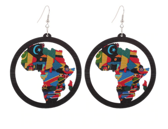 Wood Earrings - Ethnic Round­ Painted Dangle Earrings - African Continent Design
