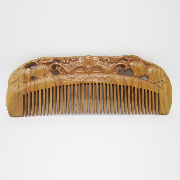 Carved Pocket Wooden Comb Natural Peach Wood Anti-static Massage Health Care Combs Vintage Hair Comb - 2