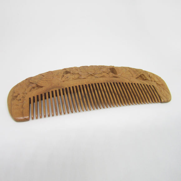 Carved Pocket Wooden Comb Natural Peach Wood Anti-static Massage Health Care Combs Vintage Hair Comb - 1