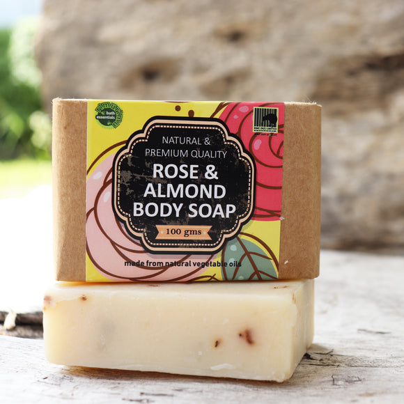 RIMURIMU Herbal Rose and Almond Bath Soap (Recommended for dry skin) - Weight : 100 grams