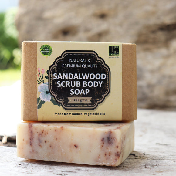RIMURIMU Herbal Sandalwood Scrub Bath Soap (Recommended for chapped, cracked and dry skin) - Weight : 100 grams