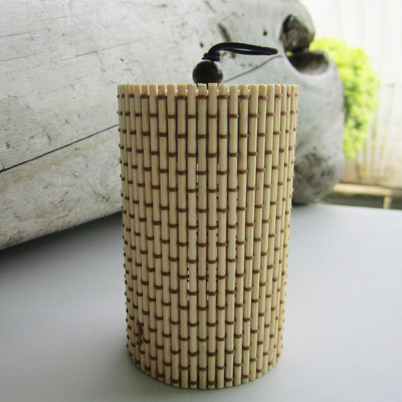 Unique Cylindrical Jewelry Bamboo Storage Organizer - Beige