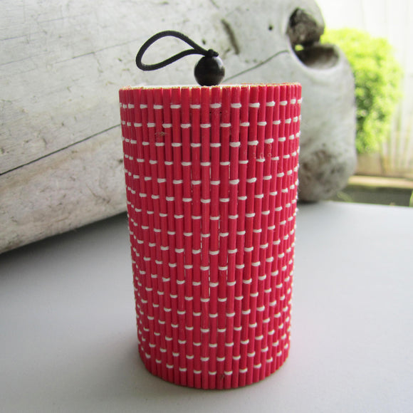 Unique Cylindrical Bamboo Storage Organizer - Red
