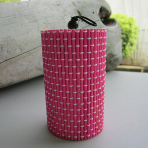 Unique Cylindrical Bamboo Storage Organizer - Rosy Red