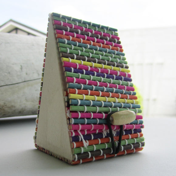 Pyramid Shaped Bamboo Storage Case - Rainbow Colour