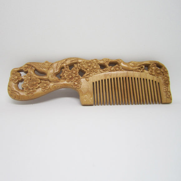 Carved Pocket Wooden Comb Natural Peach Wood Anti-static Massage Health Care Combs Vintage Hair Comb - 3