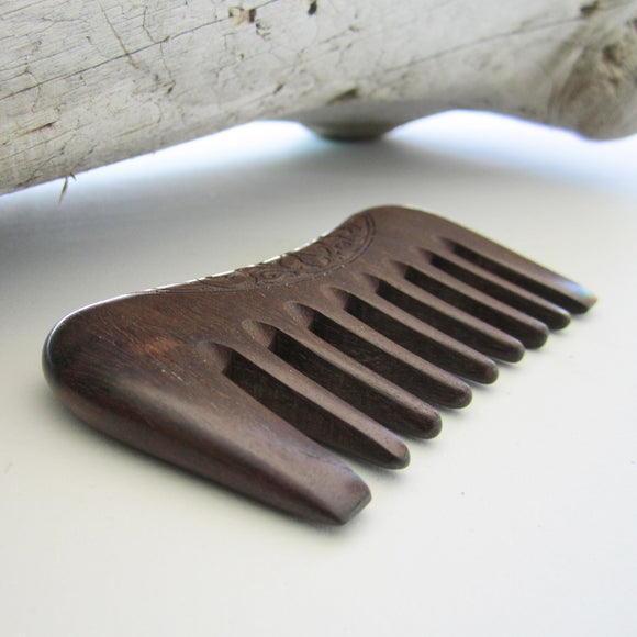 Handmade Sandalwood Wide Tooth Pocket Comb - Ethnic Incised Engraving