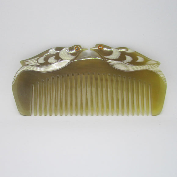 Natural Ox-Horn Hair Comb Mandarin Duck Carvings - 2