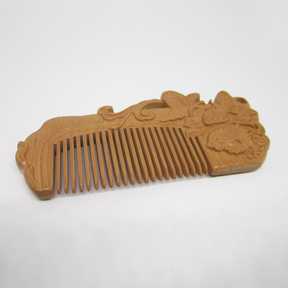 Natural Peach Wood Comb (Butterfly)