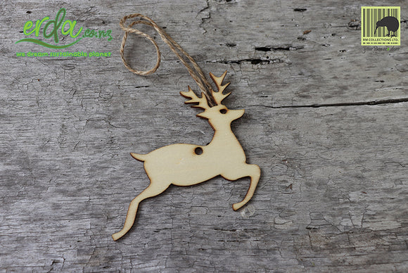 Christmas Tree Hanging Wooden Ornaments - Jumping Deer