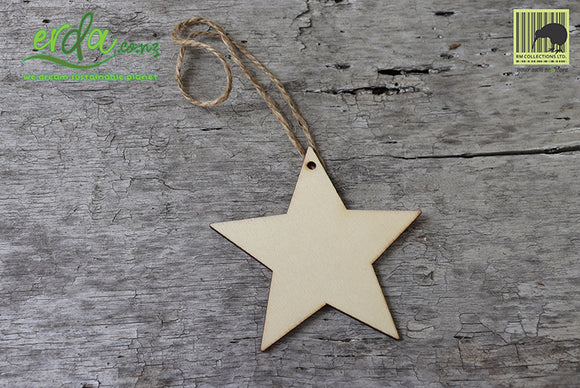 Christmas Tree Hanging Wooden Ornaments - Star