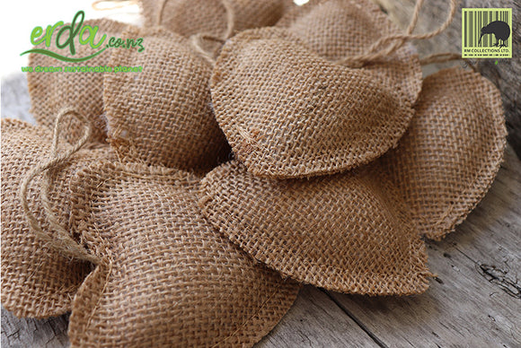 Jute Burlap Heart Christmas Decoration - Beige