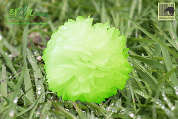 Christmas Decoration Paper Pom Poms - Fluorescent Green