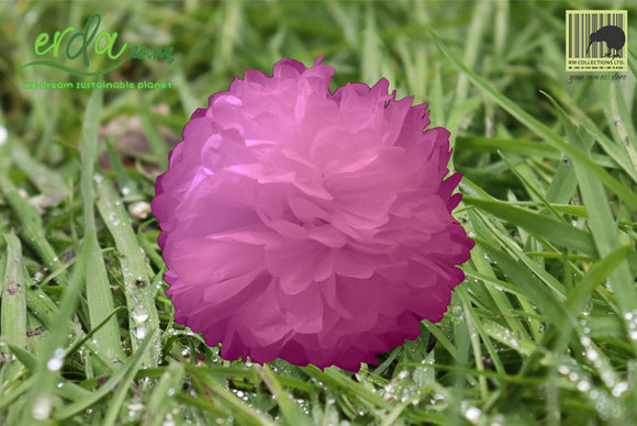 Christmas Decoration Paper Pom Poms - Rose Purple