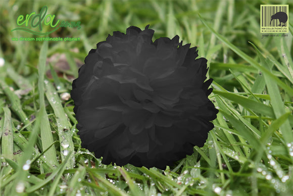 Christmas Decoration Paper Pom Poms - Black