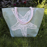 Jute Shopping Bag SeaGrn Starfish - Big