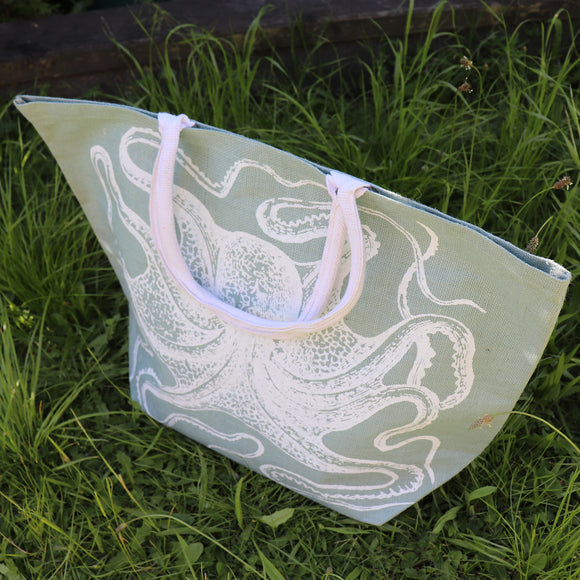 Jute Shopping Bag SeaGrn Octopus - Big