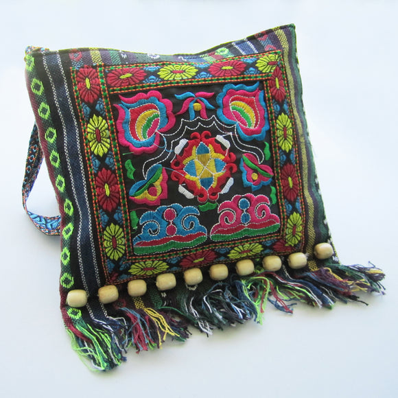 Ethnic Shoulder Bag - Blue with multicoloured embroidery