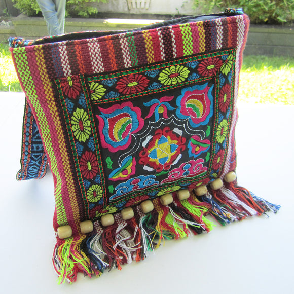 Ethnic Shoulder Bag - Red with multicoloured embroidery