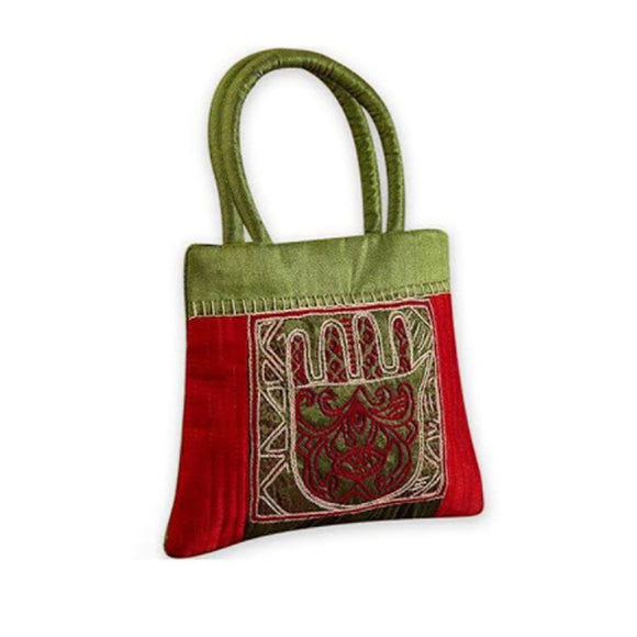 Ethnic Green and Red embroidered silk handbag