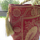 Ethnic Red & Golden Zari Work Tote Bag - Peacock