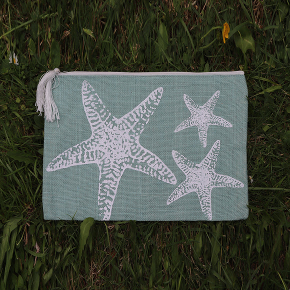 Jute Folder Starfish (Sea Green) - Medium