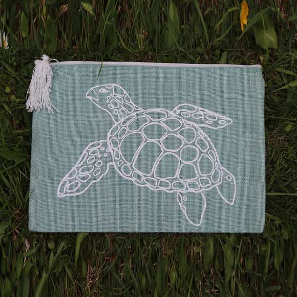 Jute Folder Turtle (Sea Green) - Medium
