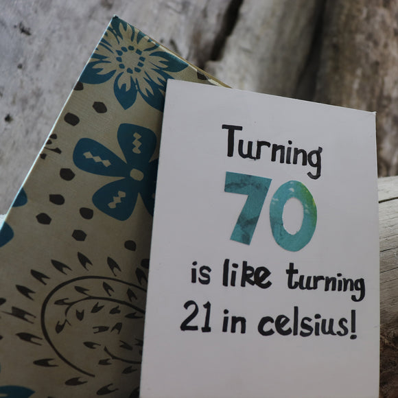 Handmade Birthday card - Turning 70 greeting card