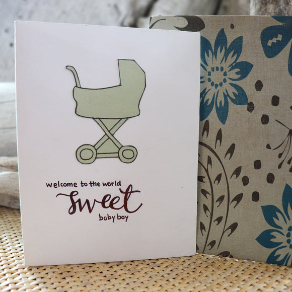 Handmade Baby Shower card - Baby Boy greeting card