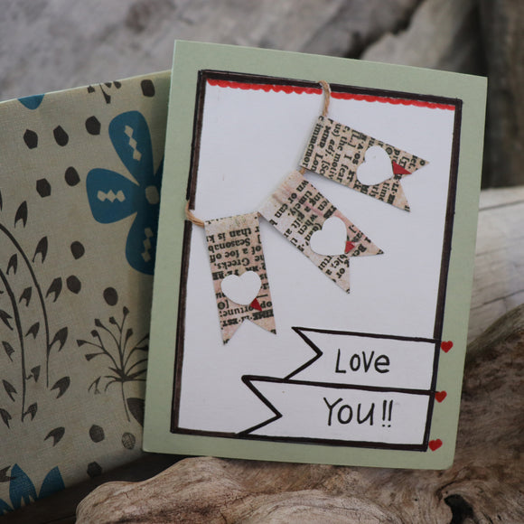 Handmade Feelings card - Love You greeting card